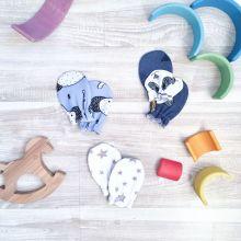 "Набор из 3 пар рукавичек-антицарапок MamaPapa ""Панды. Слоники. Звёзды"""