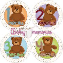 """Наклейки с месяцами для новорожденных """"Добродушные мишки"""""""