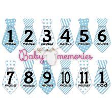 Наклейки галстуки BabyMemories с месяцами для новорожденных