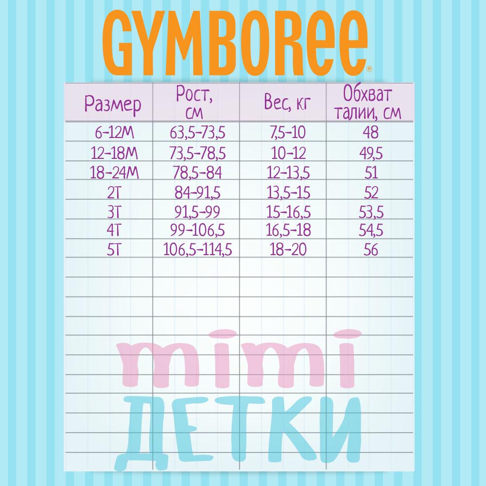 Размерная сетка детской одежды Gymboree